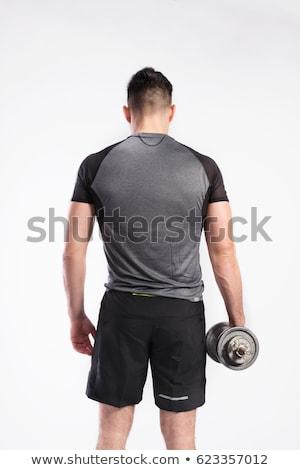 ダンベル 男 背面図 戻る 筋肉 黒白 ストックフォト © lunamarina