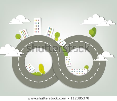 Сток-фото: дорожный · знак · форма · домах · дорожных · знаков · зеленый · белый