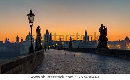 Praga noite luzes nuvens lua viajar Foto stock © olinkau