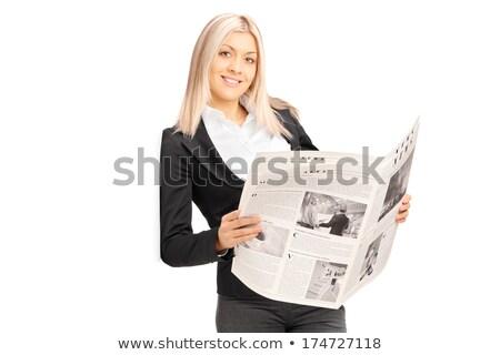 Zakenvrouw lezing krant witte nieuws uitvoerende Stockfoto © wavebreak_media