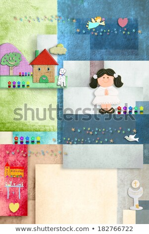 first communion invitation card reminder brunette girl Stock photo © marimorena