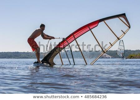 het · windsurfen · mooie · strand · natuur · landschap · zee - stockfoto © forgiss