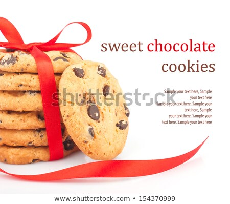 chocolate chips cookies with red ribbon stock photo © oly5