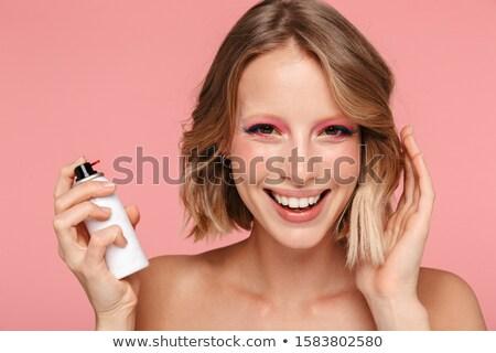 Vonzó nő hajlakk portré nő haj spray Stock fotó © Aikon
