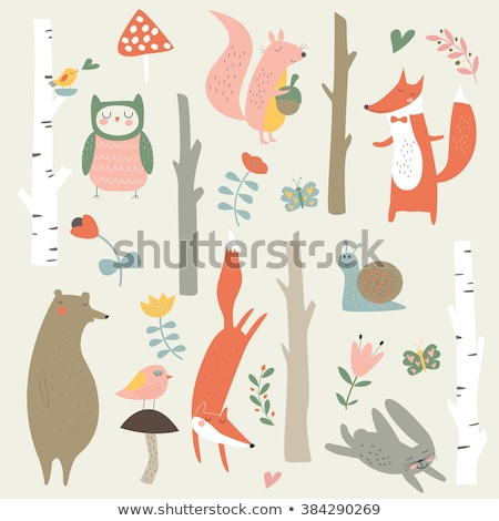 trees with birds and squirrels vector stock photo © beaubelle