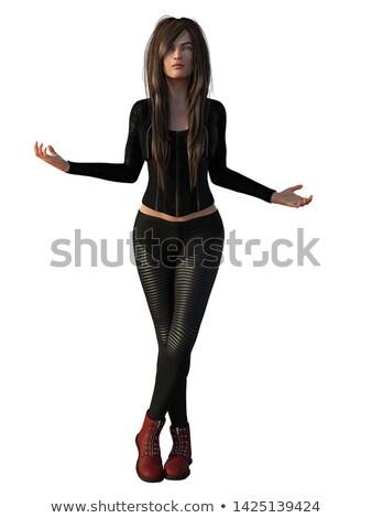 fiatal · boldog · nő · bőr · nadrág · magassarkú - stock fotó © feedough