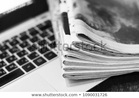 újság · főcím · tekert · felfelé · papír · kommunikáció - stock fotó © tomjac1980
