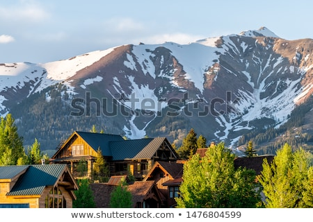 Top view on ski resort at evening Stock photo © BSANI