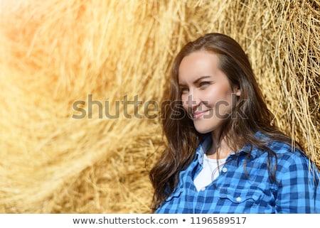 портрет женщину белый рубашку долго Сток-фото © maros_b