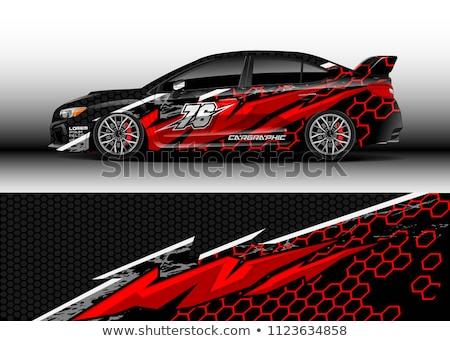 resumen · sedán · coche · etiqueta · deporte · arco · iris - foto stock © pathakdesigner