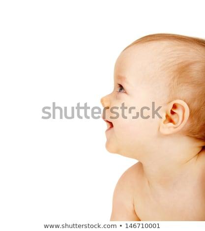 Aranyos baba fiú fehér guggol arc Stock fotó © photobac