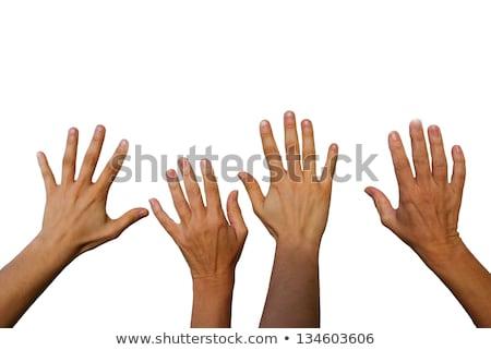 kettő · nő · kezek · integet · kézmozdulat · testrészek - stock fotó © dolgachov