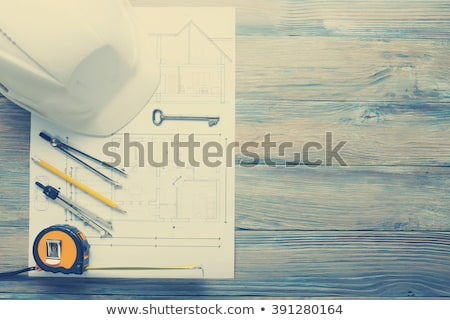 architecture project on the office table with tools and keys stock photo © tannjuska