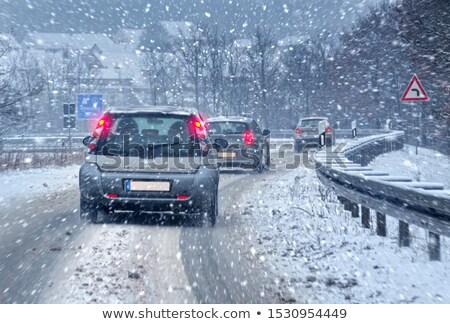 trafik · karayolu · soğuk · kış · gün · doğa - stok fotoğraf © aetb