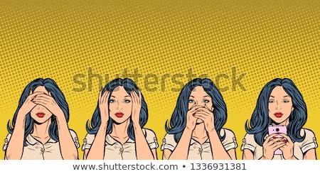 Stockfoto: Zie · spreken · geen · kwaad · drie