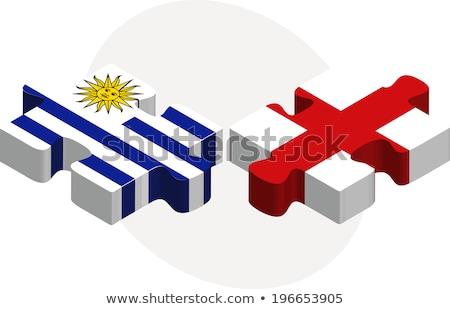 Uruguay Anglia zászlók puzzle izolált fehér Stock fotó © Istanbul2009