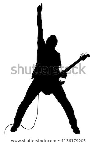 gitáros · sziluettek · kő · koncert · jókedv · jegyzet - stock fotó © Slobelix