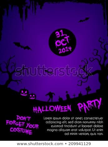 halloween party flyer template   purple and black stock photo © mischoko