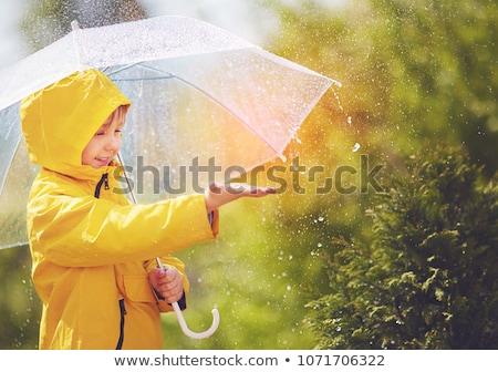 Kız yağmur yürüyüş şemsiye şapka bahar Stok fotoğraf © valpict