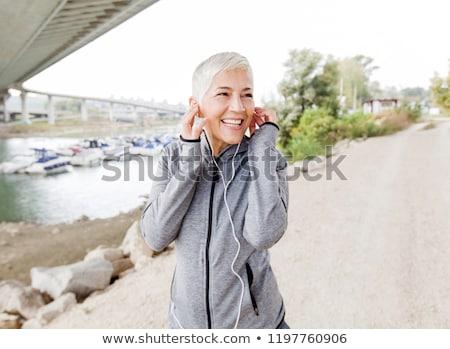 Női sportruházat megnyugtató edzés közelkép kép Stock fotó © restyler