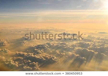 Spectaculaire zonsopgang wolken stad achtergrond oranje Stockfoto © meinzahn