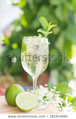hugo prosecco elderflower soda ice summer drink stock photo © juniart