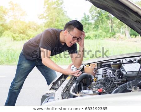 Photo stock: Pilote · furieux · voiture · cassée · route · téléphone · autoroute