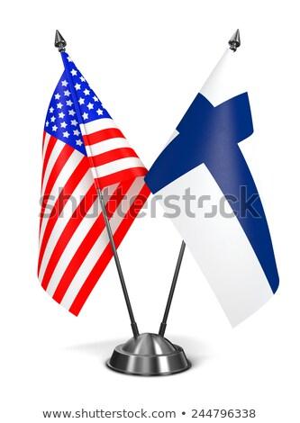 EUA Finlândia miniatura bandeiras isolado branco Foto stock © tashatuvango