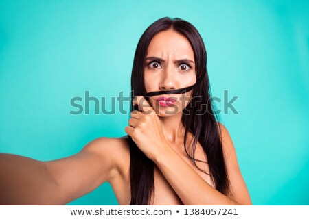 stare fashion model girl face beauty woman make up and red man stock photo © victoria_andreas