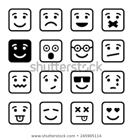 Square emoticon crying Stock photo © carbouval