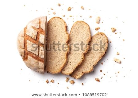 Stock fotó: Szelet · kenyér · izolált · fehér · étel · háttér