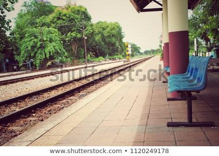 Photo stock: Vieux · gare · président · banc · bleu · forme