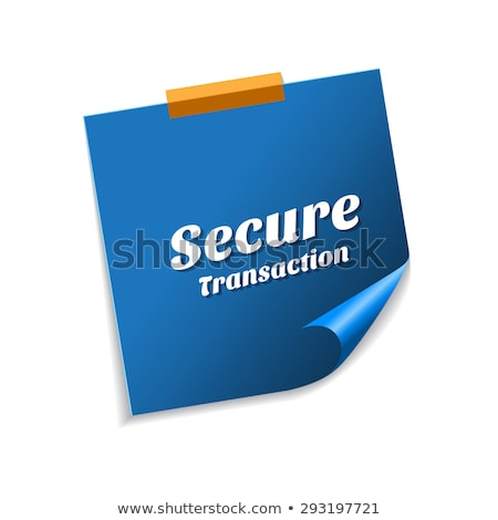 Biztonságos tranzakció kék cetlik vektor ikon Stock fotó © rizwanali3d
