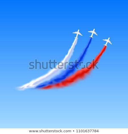 Avião cor fumar companhias aéreas símbolo projeto Foto stock © blaskorizov