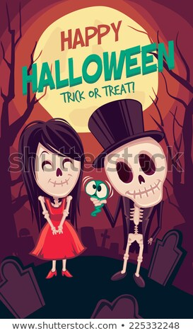 Halloween Zombie Party Poster with Hat. Holiday Card. Stock photo © WaD