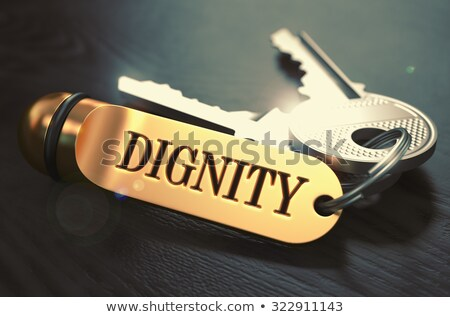 Dignidade teclas dourado preto mesa de madeira Foto stock © tashatuvango