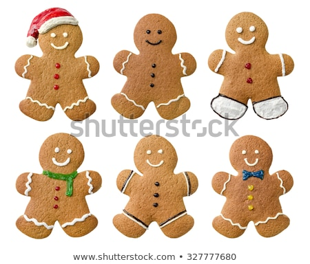 Stock photo: Collection of various gingerbread men on a white background