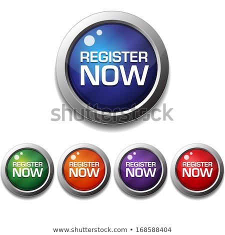 register now glossy shiny circular vector button stock photo © rizwanali3d