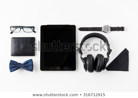 tablet pc, headphones with hipster personal stuff Stock photo © dolgachov