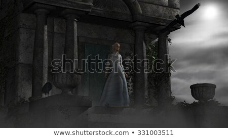 Elf woman in old spooky mausoleum in moonlight Stock photo © ankarb