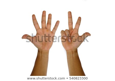 child counting with eight fingers stock photo © ozgur