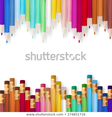 Frame of multicolored pensils. EPS 10 Stock photo © beholdereye