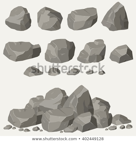 Stock photo: Set of rocks and stone pile vector