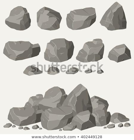 серый · камней · набор · рок · Элементы · различный - Сток-фото © loopall