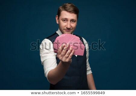magicien · astuce · cartes · à · jouer · jeunes · heureux - photo stock © deandrobot