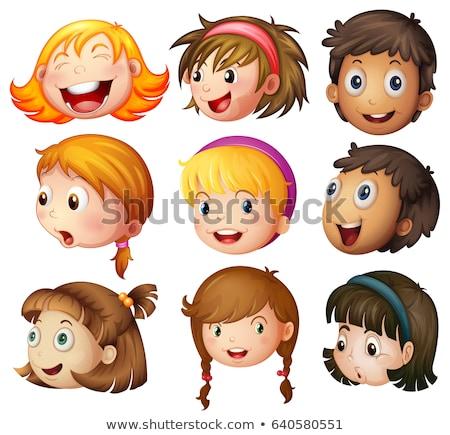 Hoofd meisjes gelukkig gevoel illustratie glimlach Stockfoto © bluering