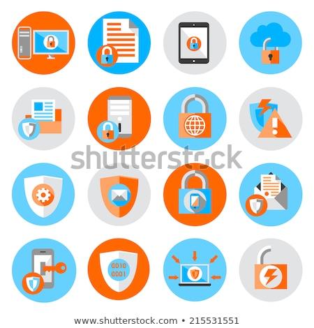 Veritabanı güvenlik ikon dizayn asma kilit yalıtılmış Stok fotoğraf © WaD