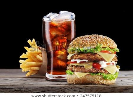 Hamburger sültkrumpli kóla illusztráció üveg háttér Stock fotó © bluering