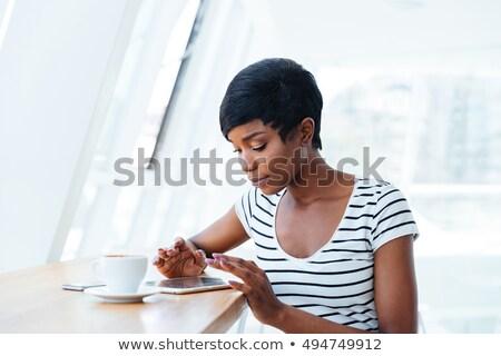 zakenvrouw · koffiepauze · top · cafe · business - stockfoto © deandrobot
