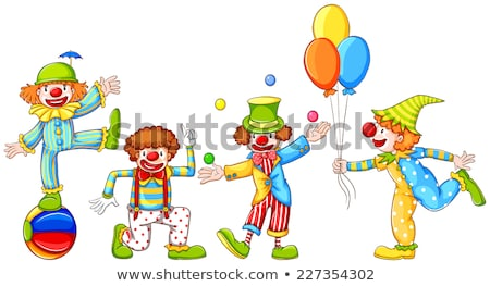 A simple drawing of four playful clowns Stock photo © bluering